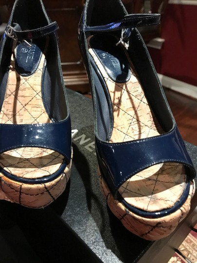 Chanel Dark Navy Patent /Leather Sandals Image 1