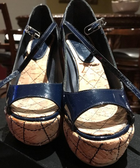 Chanel Dark Navy Patent /Leather Sandals Image 11