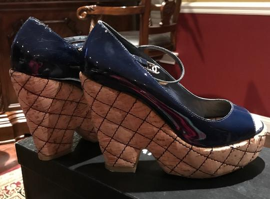 Chanel Dark Navy Patent /Leather Sandals Image 4