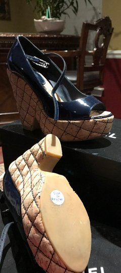 Chanel Dark Navy Patent /Leather Sandals Image 6