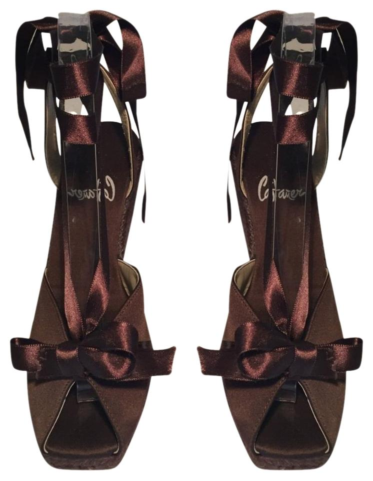 Castañer Brown Satin Espadrille with Ankle Wrap Satin Ribbon Wedges ...