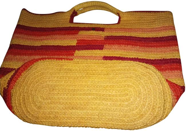 Item - Huge Striped Woven with Weaved Leather Handles Multiple Raffia Tote