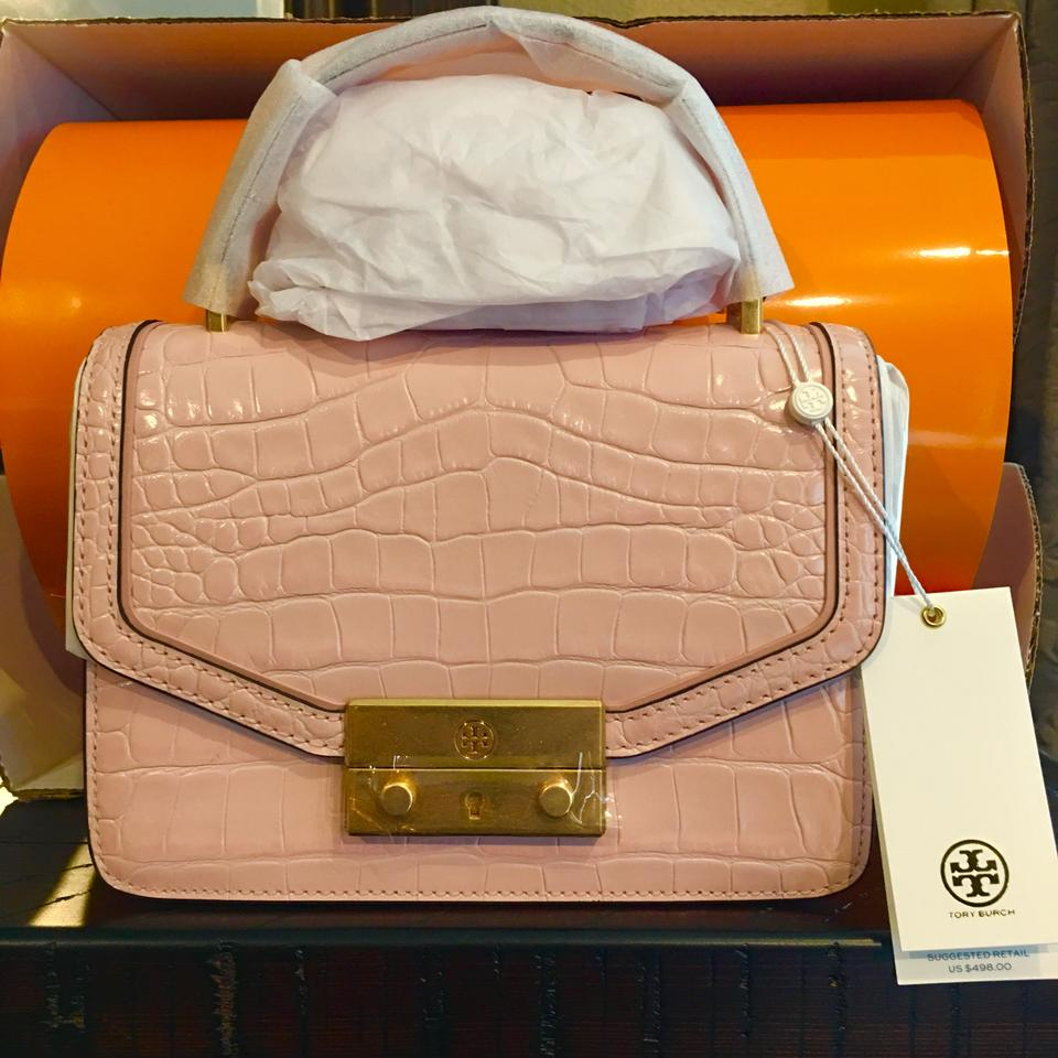 957270d557d Tory Burch Juliette Mini Clay Pink Croc Embossed Leather Satchel ...