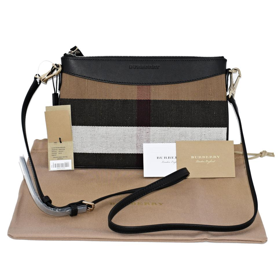 f0fa8717b50a Burberry Peyton Black House Check Canvas and Leather Cross Body Bag ...