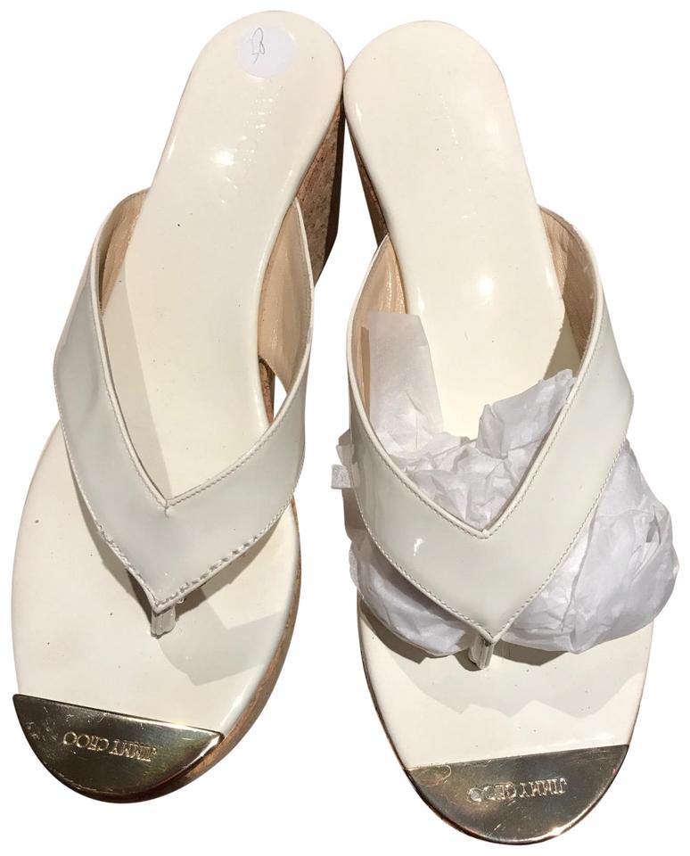 5bd5efbb9329 Jimmy Choo White with Gold Toe Plate Thong Mules Slides. Size  EU 38.5  (Approx. US 8.5) Regular (M ...