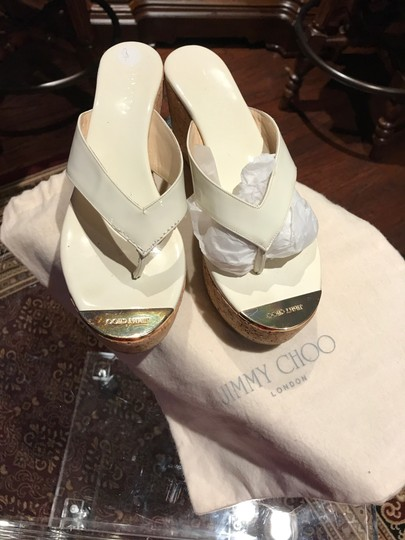 Jimmy Choo White with Gold Toe Plate Mules Image 2