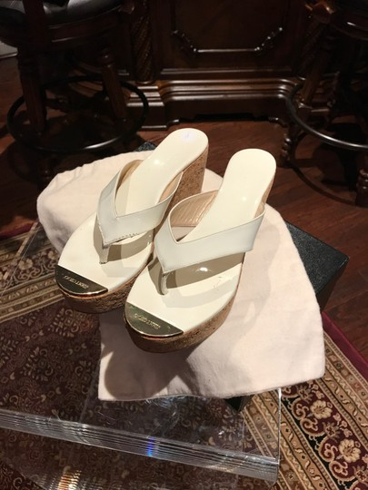 Jimmy Choo White with Gold Toe Plate Mules Image 3