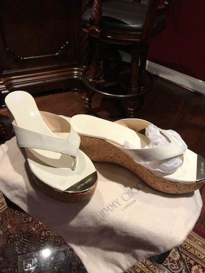 Jimmy Choo White with Gold Toe Plate Mules Image 6