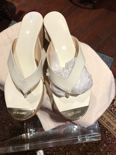 Jimmy Choo White with Gold Toe Plate Mules Image 7