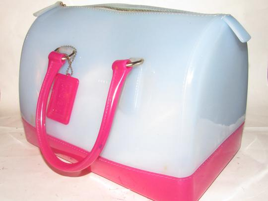 Furla Xl Tote/Satchel Great Pop Of Color Furla's 'candy' & Satchel in pale blue and hot pink translucent jelly plastic Image 10