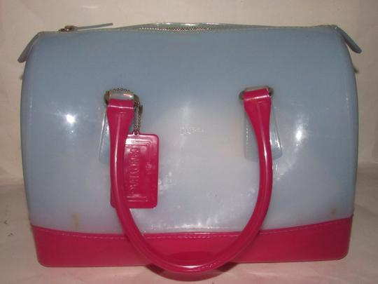 Furla Xl Tote/Satchel Great Pop Of Color Furla's 'candy' & Satchel in pale blue and hot pink translucent jelly plastic Image 3