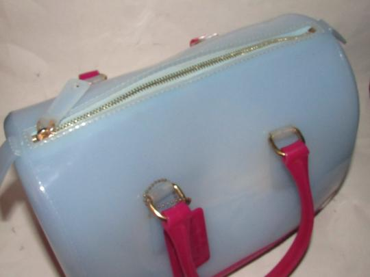 Furla Xl Tote/Satchel Great Pop Of Color Furla's 'candy' & Satchel in pale blue and hot pink translucent jelly plastic Image 4