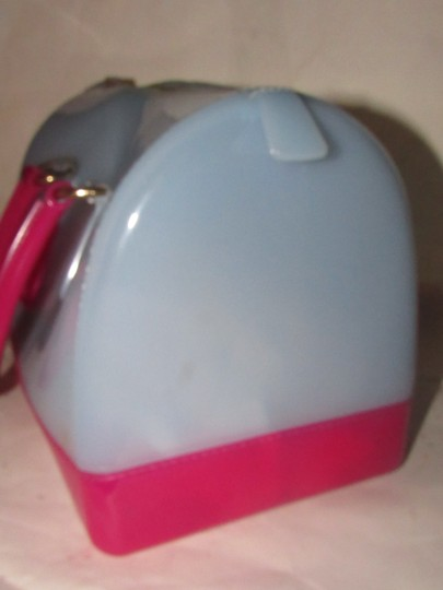 Furla Xl Tote/Satchel Great Pop Of Color Furla's 'candy' & Satchel in pale blue and hot pink translucent jelly plastic Image 5