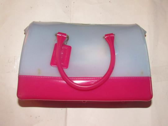Furla Xl Tote/Satchel Great Pop Of Color Furla's 'candy' & Satchel in pale blue and hot pink translucent jelly plastic Image 7