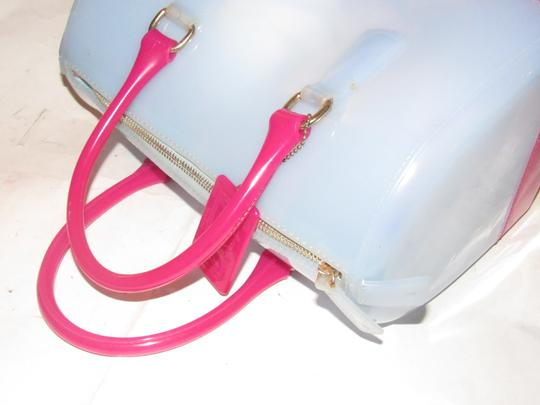 Furla Xl Tote/Satchel Great Pop Of Color Furla's 'candy' & Satchel in pale blue and hot pink translucent jelly plastic Image 8