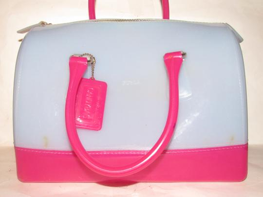 Furla Xl Tote/Satchel Great Pop Of Color Furla's 'candy' & Satchel in pale blue and hot pink translucent jelly plastic Image 9