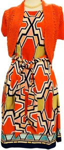 Signature by Robbie Bee Piece.coral/Multi New Shrug Belted Zip Back Dress