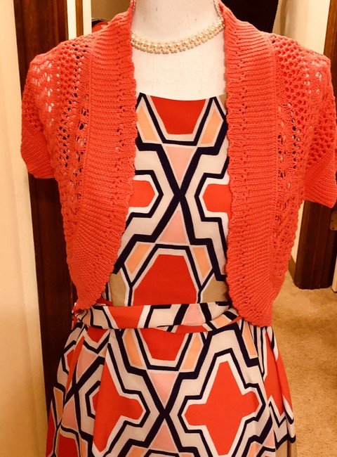 Signature by Robbie Bee Piece.coral/Multi New Shrug Belted Zip Back Dress Image 5