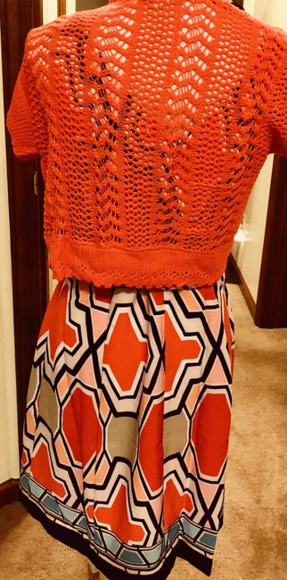 Signature by Robbie Bee Piece.coral/Multi New Shrug Belted Zip Back Dress Image 7