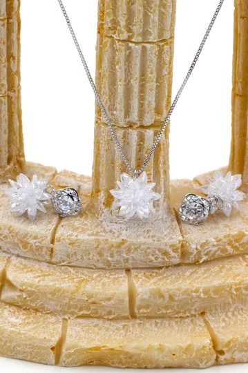 Ocean Fashion Snowflake Crystal Earrings Necklace Set Image 3