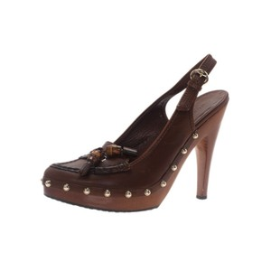 Gucci Bamboo Leather Tassels Brown Sandals