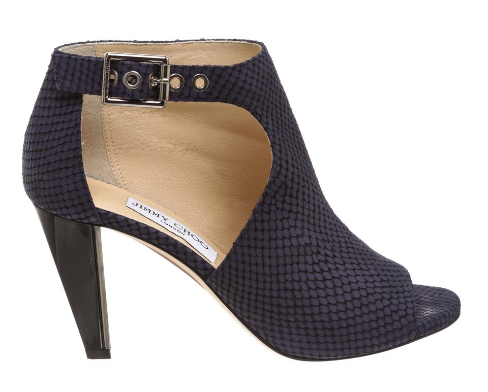 Leather Peep Jimmy Ankle Booties 483937 Choo Toe Navy Boots Blue q4qwStTv