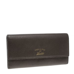 0d01a76251e Gucci Khaki Pebbled Continental Wallet Black Leather Baguette - Tradesy