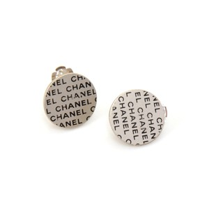 Chanel Round Disc Flat Logo Clip On Earrings