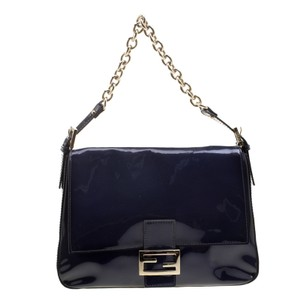 26a66f3dfb28 Fendi Navy Mama Forever Blue Patent Leather Shoulder Bag - Tradesy