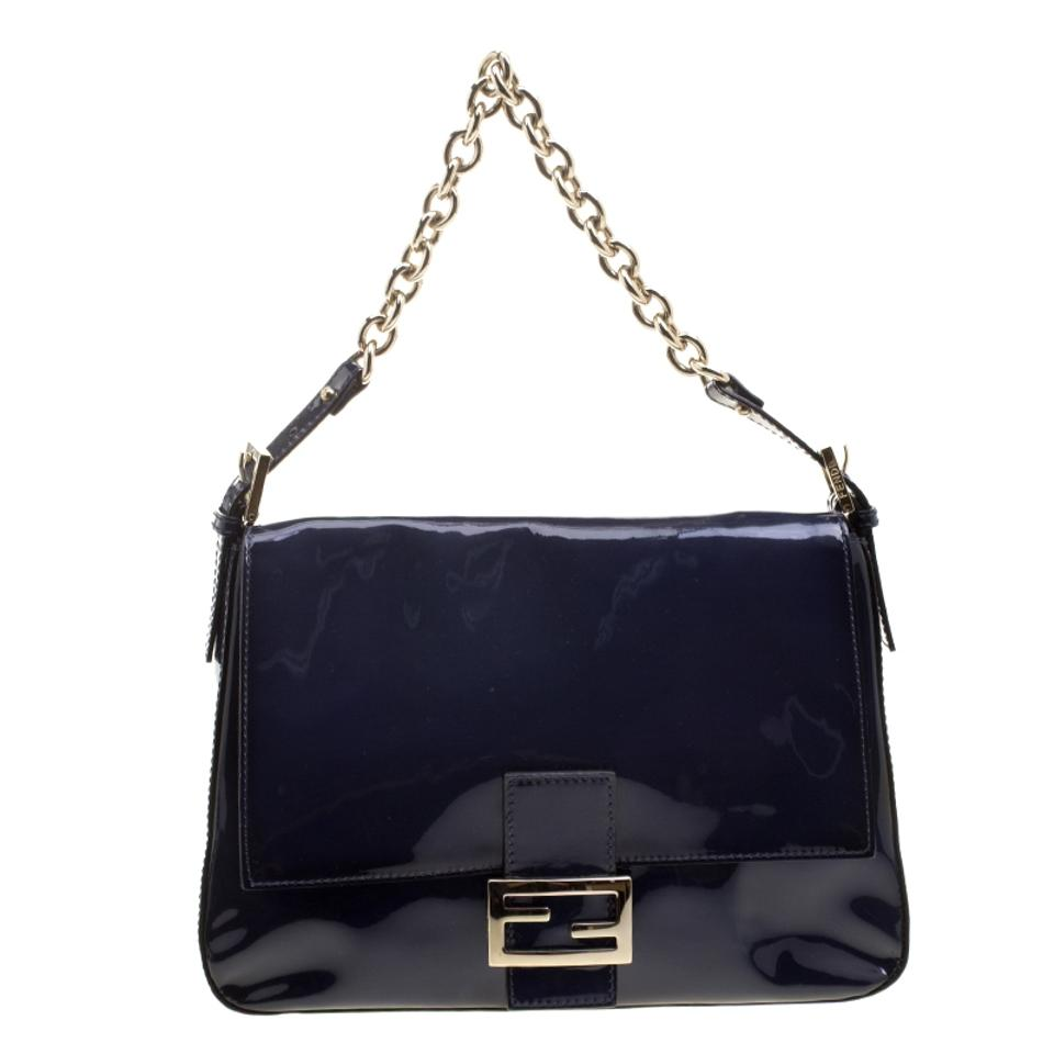 c127757205a Fendi Navy Mama Forever Blue Patent Leather Shoulder Bag - Tradesy