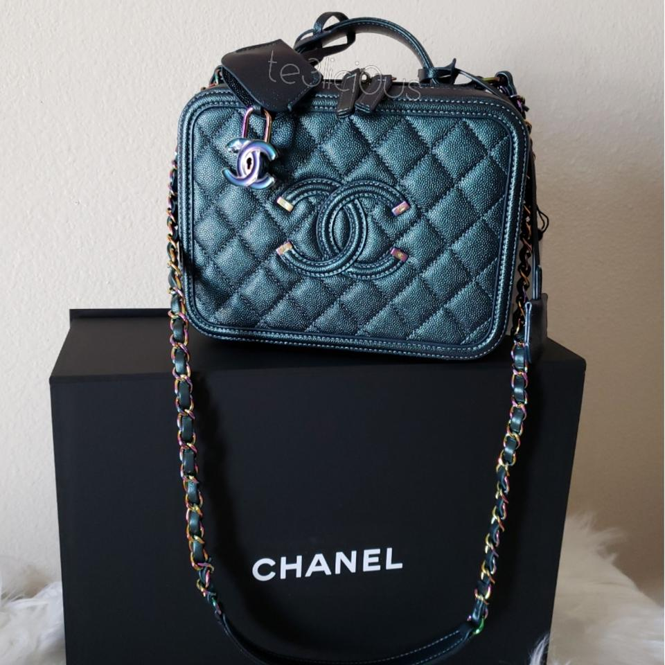 47e64df53ef2 Chanel Vanity Case Medium Rainbow Dark Turquoise Iridescent Lambskin Caviar  Shoulder Bag - Tradesy