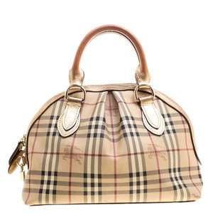 Burberry Leather Canvas Satchel in Gold