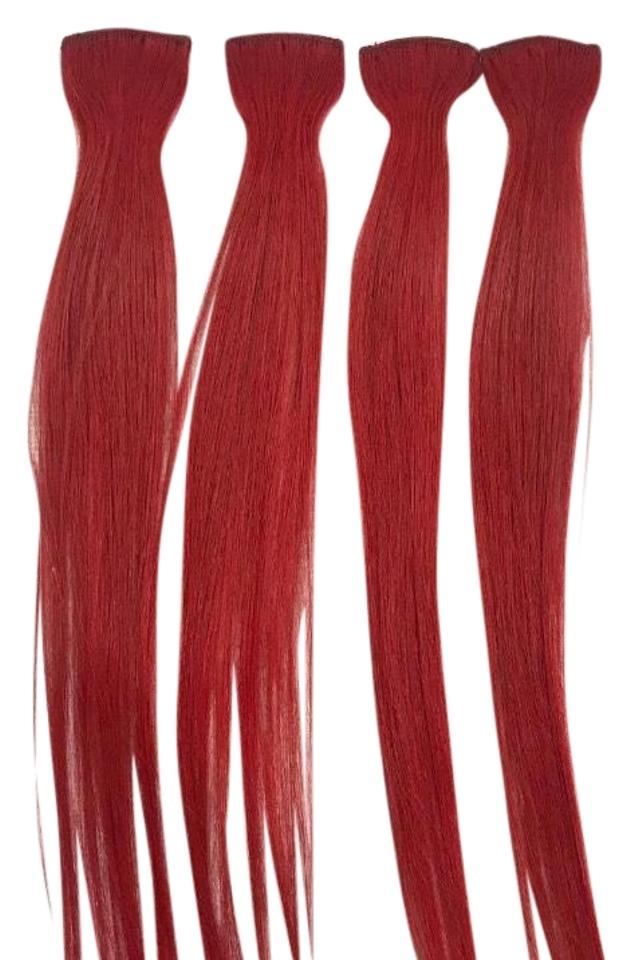 Red 4 Piece Clip In Extension Streaks Hair Accessory Tradesy