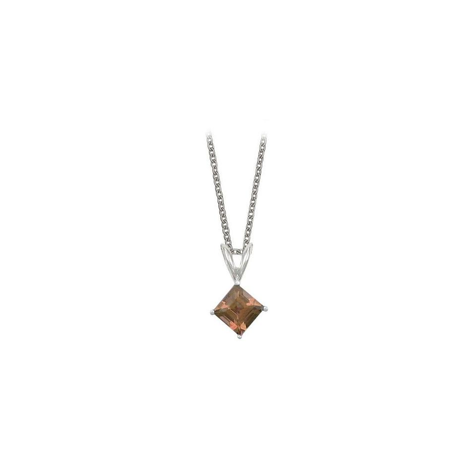 Brown square cut smoky quartz pendant sterling silver 1ct designerbyveronica square cut smoky quartz pendant necklace in sterling silver 1ct aloadofball Image collections