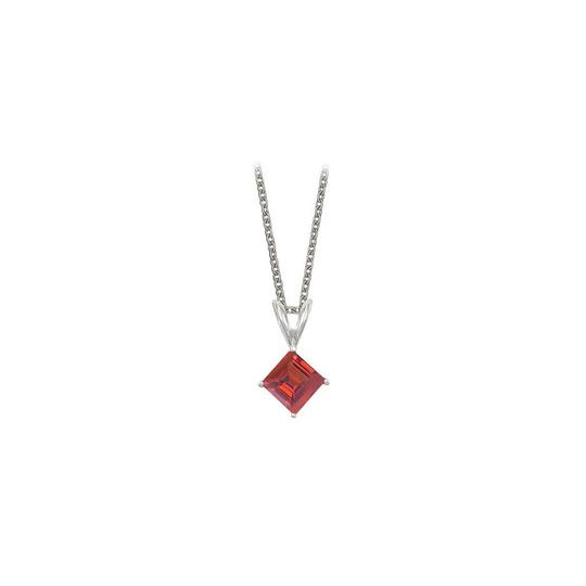 Preload https://img-static.tradesy.com/item/23708072/red-square-cut-created-ruby-pendant-sterling-silver-1cttw-necklace-0-0-540-540.jpg