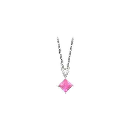 Preload https://img-static.tradesy.com/item/23708086/pink-square-cut-created-sapphire-pendant-sterling-silver-necklace-0-0-540-540.jpg