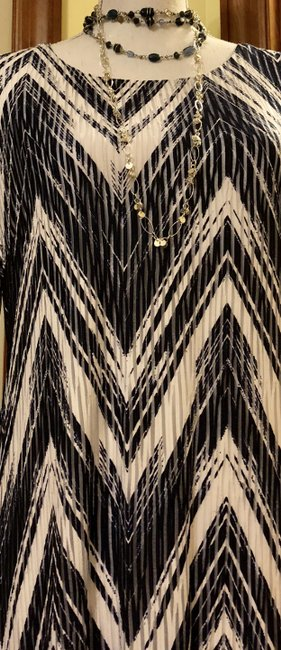 Signature by Robbie Bee New Dark Blue White Zig Zag Pattern See Thru Slats Dress Image 10