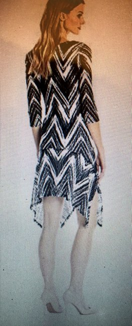 Signature by Robbie Bee New Dark Blue White Zig Zag Pattern See Thru Slats Dress Image 3