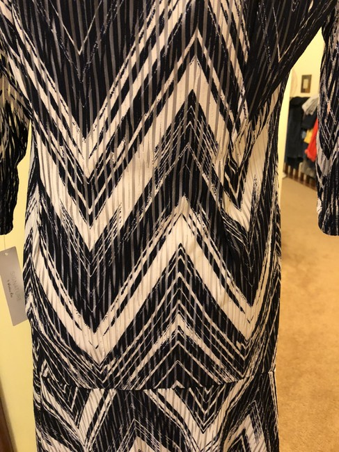 Signature by Robbie Bee New Dark Blue White Zig Zag Pattern See Thru Slats Dress Image 4