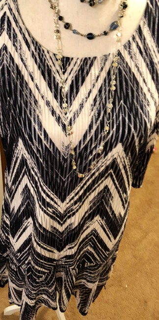 Signature by Robbie Bee New Dark Blue White Zig Zag Pattern See Thru Slats Dress Image 8