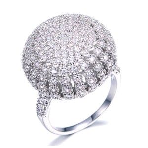 ME-Boutiques Private Label Collection Swarovski Crystals Silver Pave Dome Ring S11