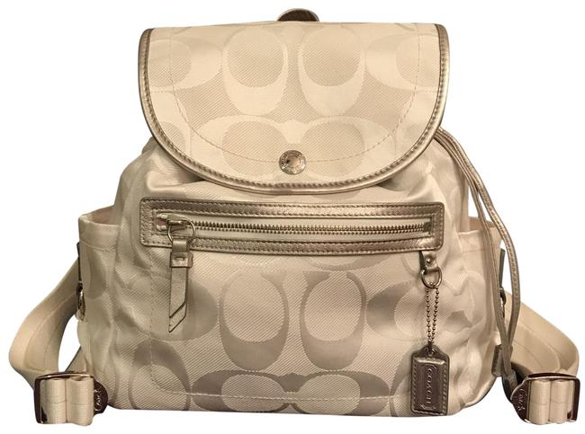 Item - Kyra Daisy F19715 C C Signature Logo Leather White Silver Canvas Backpack