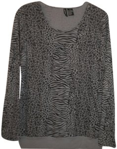 Jason Maxwell Long Sleeve Animal Pattern Black/Gray Cotton Blend T Shirt Black/Gray