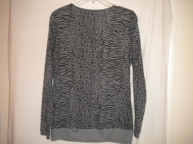 Jason Maxwell Long Sleeve Animal Pattern Black/Gray Cotton Blend T Shirt Black/Gray Image 3