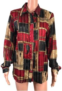 Alfred Dunner Button Down Shirt Black/Red