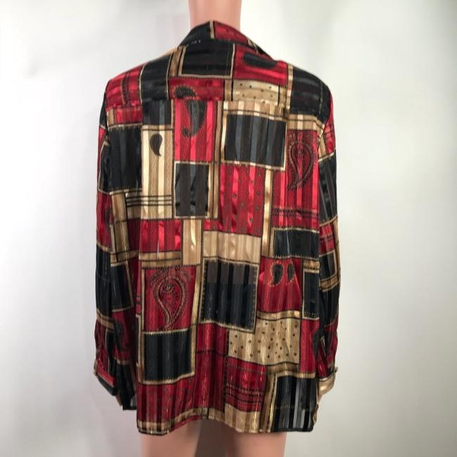 Alfred Dunner Button Down Shirt Black/Red Image 1
