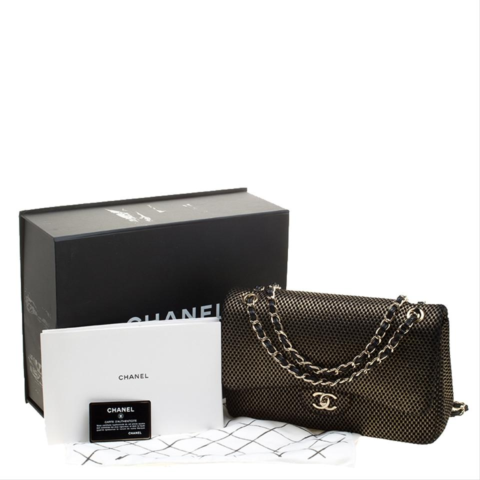 15239afddcce Chanel Classic Flap Black/Gold Perforated Jumbo Classic Double Gold Jersey  Shoulder Bag - Tradesy