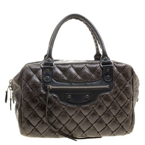 Balenciaga Quilted Leather Satchel in Grey