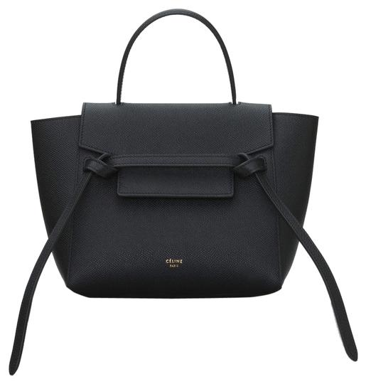 Belt Grained Black Calfskin Leather Tote by Céline