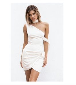 SABO SKIRT short dress Ivory Silk One Shoulder Swing Tie Summer on Tradesy